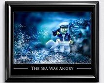 "LEGO® Decor, Nautical Art Print for Kids Room - Sea Captain, Wall Art, Toy Photography Print: ""The Sea Was Angry"""