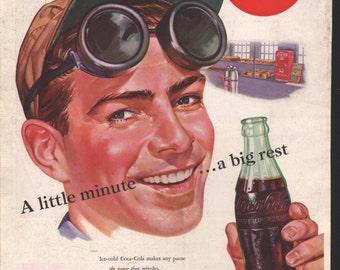 Coca Cola, Coke, vintage Saturday Evening Post Ad, service man taking a break - Coke 032