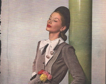 Vogue magazine ad, fashion dress, gloves, matted or unmatted - PD000827