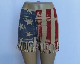 Vintage Handmade American Flag Shorts w/ Fringed Bottom