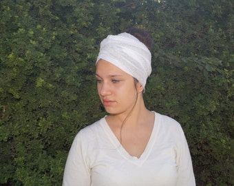 Pure white turban hair wrap, head wrap, hair covering,tichel,sinar tichel,hijab
