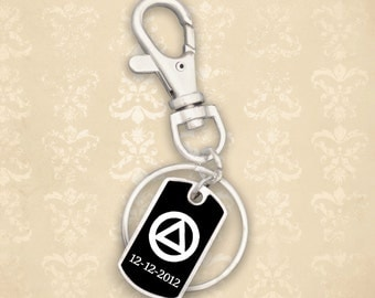 Custom Sobriety Date Alcohol Recovery Dog Tag Keychain - RCALC46991
