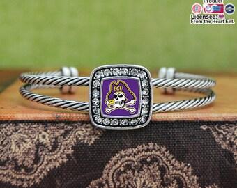 East Carolina Pirates Square Cuff Bracelet