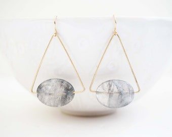 Gold and Grey Bead Earrings