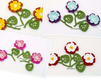 Crochet Flowers, flower with twig, crochet flowers with  leaves and stem, crochet two layers flower, Crochet applique (Set of 3 folowers)