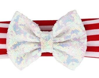 White Sequin Bow Headband