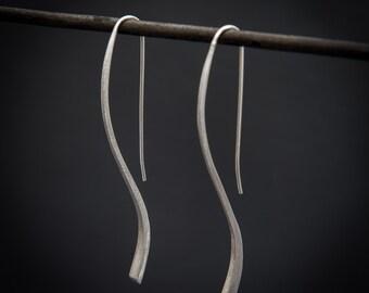 Silver Earrings, Long Drop Earrings, Brushed Silver, Silver Drops, Drop Earrings, Statement Earrings, Unusual Earrings