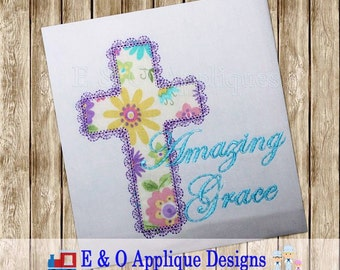 Amazing Grace Lace Edge Cross Applique - Amazing Grace Embroidery Design - Easter Cross Embroidery - Cross Applique Design Digital Applique