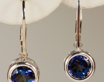 Mystic Blue Topaz Earrings~.925 Sterling Silver Leverback Setting~6mm Round Cut~Genuine Natural Mined