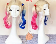 2016 New Arrival Suicide Squad Harley Quinn Cosplay Wig, White Blonde to Blue and Pink Ombre Wig for Party UF525
