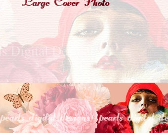 large Cover Photo, Things Are Looking Up, instant download, blank file, 3360 x 840 pixels, red, vintage lady flapper, roses, pink, butterfly