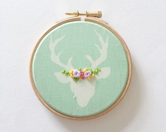 Woodland Baby Decor, Rustic Home Decor, Animal Art, Nursery Wall Hanging, Girls Room, Embroidered Flowers, Deer Antlers, Embroidery Hoop Art