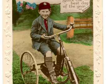 1920s Little Boy riding a Tricycle Postcard Edwardian Victorian Antique Vintage Photo Hand Tinted Bicycle Bike