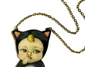 Little baby boy in a Cat costume necklace, Humor, Fun, Cool, Gift idea, toddler picking his nose, Cute Necklace