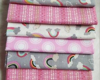 Rainbows 8 Fat Quarter Quilting Bundle/Rainbow colors,grey's, pinks and white prints/raining rainbows by lola violet for anthology fabrics