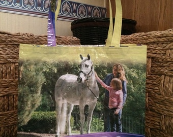 Recycled, Repurposed Purina Strategy Horse Feed Bag Tote With Commercial Webbing Straps, GROCERY BAG, Reusable Bag, Market Tote