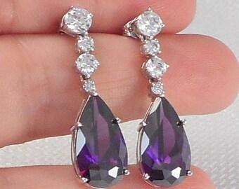 Vintage Sterling Amethyst CZ Teardrop Earrings Purple Teardrop Cubic Zirconia Drop Earrings February Birthstone Earrings Purple CZ Earrings
