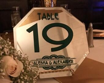 Mirror Table Numbers - Art Deco Wedding