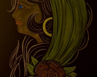 American traditional gypsy woman done in colored chalk