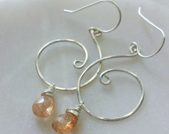 Sunstone Earrings, Sterling Silver Sunstone Earrings, Orange Sunstone Earrings, Sunstone Jewelry