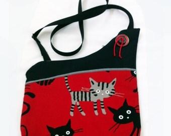Cats in Red Handmade Asymmetrical Shoulder Bag