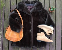 70s Hillmoor Faux Fur Coat    Medium - Large     Black Brown Vegan Fur Coat with Fluffy Collar     UNION Made in the USA