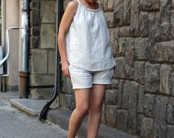 Summer Linen Set/Pants/Top/Shorts/Short Pants With Pockets/ Linen Pants/Linen Singlet/Linen Set by CARAMELfs D11616