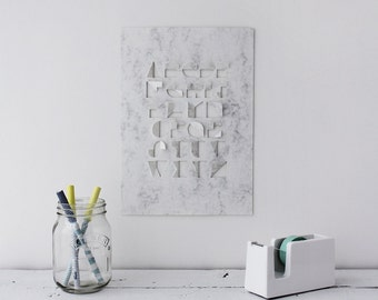 Limited Edition Hand Cut Marble Paper Typography / Alphabet - A4