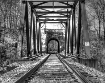 industrial wall art, Railroad bridge, Fine art print, train decor, black and white, NJ wall art, railroad photo, train wall art,