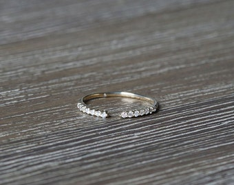 Diamond Knuckle Ring in 14k yellow gold Open Ring Dainty Stacking Ring, Diamond Ring