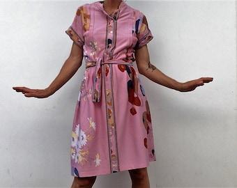 Leonard | Vintage | 1970s | Dress| Flowers | Pink | Short sleeves | Summer dress