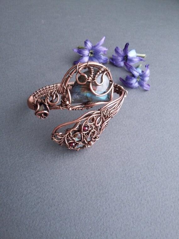 wire wrapped bracelet copper jewelry gem by