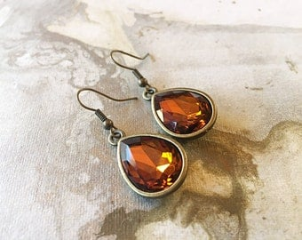 Crystal Earrings, Amber, Teardrop, Faceted, Gold