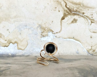 Gold Plated Wire Wrapped Onyx Ring, Black Onyx, Gold Ring, Boho Ring, Semiprecious Stone Ring, Gemstone Ring, Adjustable Ring
