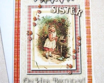 Special Sister Birthday Card,  Happy Birthday Wishes, Sister's, Vintage clip art, digital, Blank card, for her, plaid, Vintage style