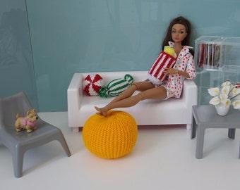 Pouf ottoman in assort 1:6 scale miniature decor dollhouse doll diorama Barbie FR Poppy Parker Momoko
