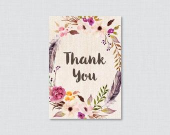 Printable Boho Baby Shower Thank You Card - Printable Instant Download - Bohemian Baby Shower Thank You Card, Floral Thank You Card - 0043