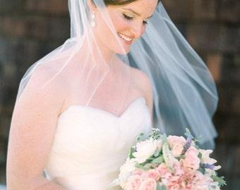 Ready to ship Elbow length Wedding Bridal tulle Veil white, ivory, Wedding veil bridal Veil Elbow length veil bridal veil cut veil