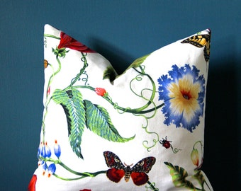 Floral Pillow Cover - Botanical Pillow Cover - Colorful Pillow Cover - Designer Pillow Cover - Botanical Decor - Butterfly Pillow - Tropical