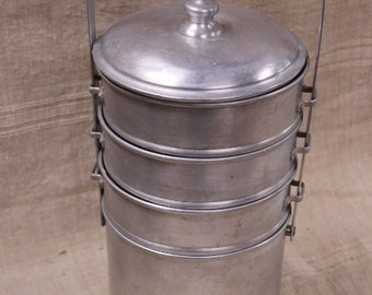 Aluminium Food Caddy, 4 dishes, vintage French food carrier