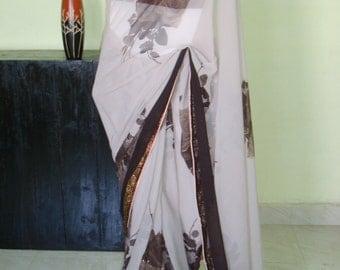 Indian georgette floral saree/brown  shades designer saree/women party wear saree