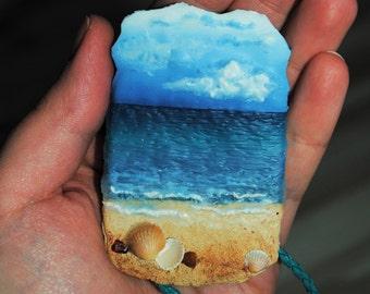 Polymer clay sea landscape necklace