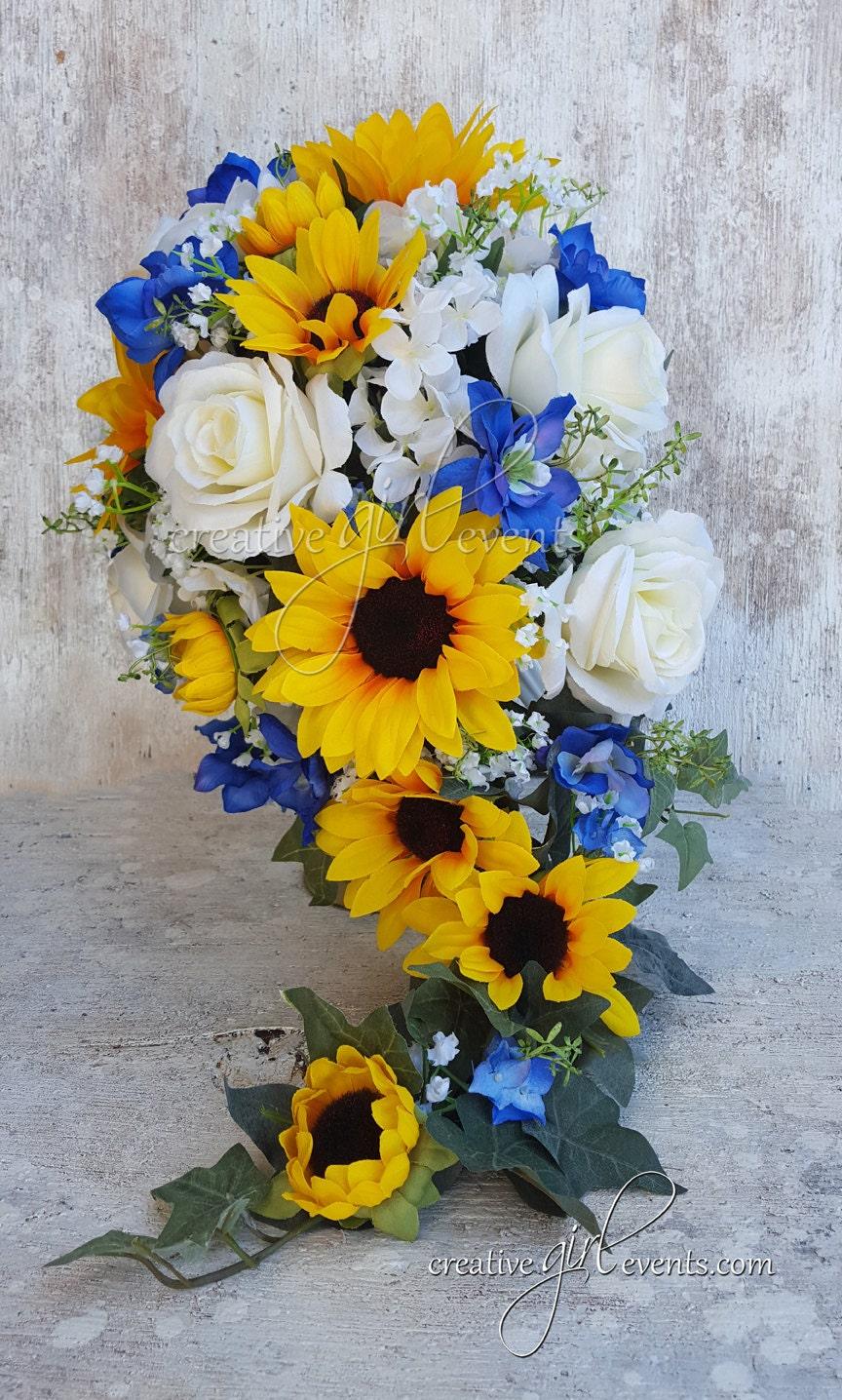 WILD BLUE Sunflower Bouquet Daisies 15 Piece Cascade Bouquet