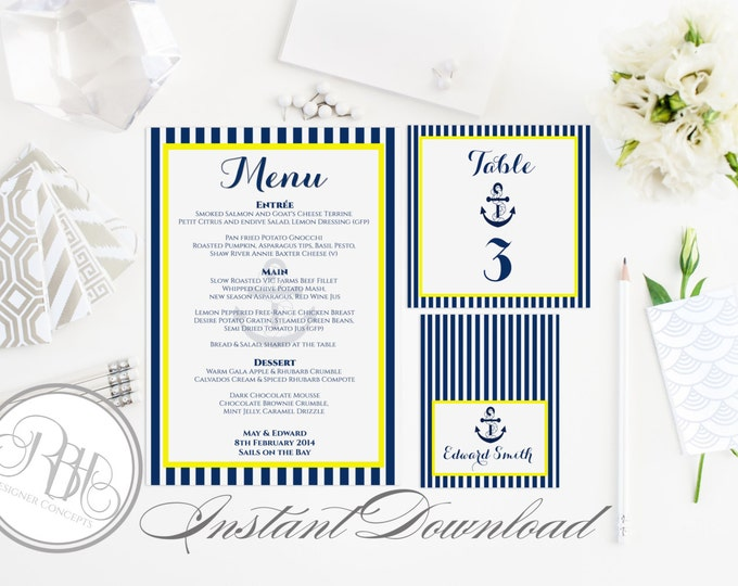 """Nautical Wedding Table Number, Place Card, Menu Templates-INSTANT DOWNLOAD DIY Editable Text-Nautical Navy & Yellow Boat Anchor-""""Xena"""""""