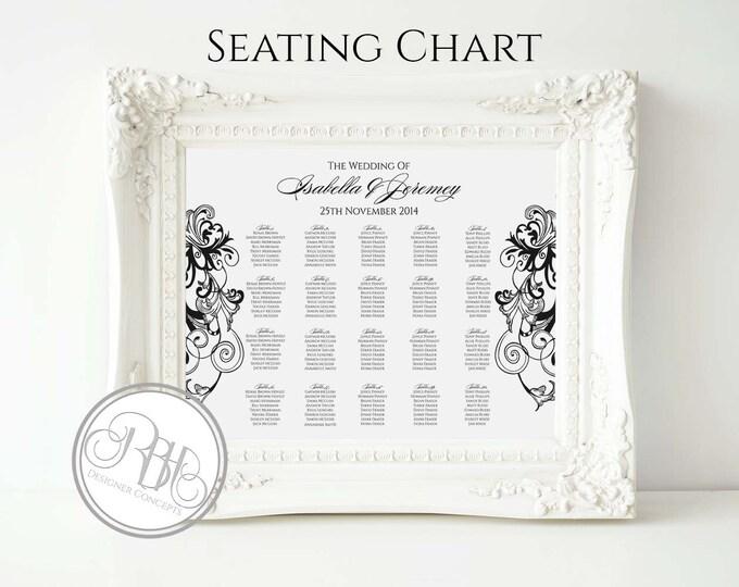 Black & White Wedding Seating Chart- Black White Swirl - Digital Files Provided DIY Printable-Helen in Black Seating-Landscape