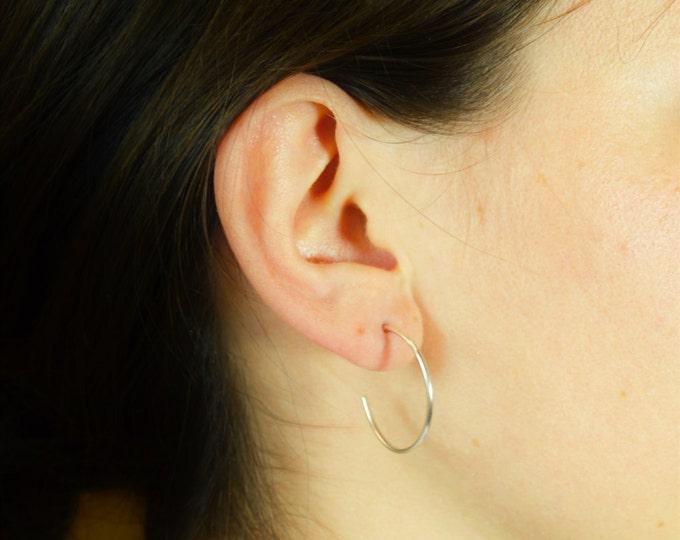 Sterling Silver Hoop Earrings, Silver Open Hoop Earrings, Silver Earrings, Simple Earrings, Open Round Earrings, Sterling Silver, Open Hoops