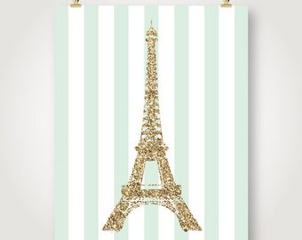 mint and gold glitter eiffel tower french nursery chic girls room paris wall art bedroom decor printable digital print jpeg instant download