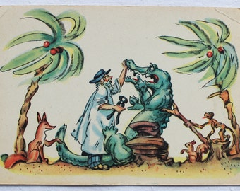"Illustrator Epple. Vintage Soviet Postcard ""Doctor Aibolit/ Doctor Dolittle"" Chukovsky - 1960. Izogiz Publ. Man, Crocodile, Fox, Monkeys"