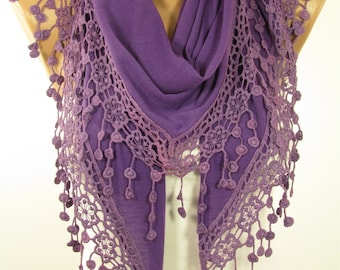 Purple Scarf Shawl Lace Scarf Spring Scarf Summer Scarf Women Fashion Accessory Christmas Gift For Her Mothers Day From Daughter Son For Mom