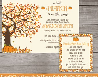Fall Baby Shower Invitations - Printed Invitations - Little Pumpkin Baby Shower Invitation - A Little Pumpkin is On the Way -  191